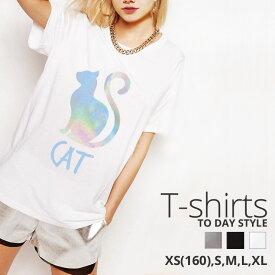 Tシャツ レディース メンズ Uネック クルーネック 丸首 綿 半袖 カットソー パステル 猫 cat かわいい ペア カップル おそろ リンクコーデ