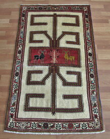 【クーポン50%OFF対象品】ギャッベ ギャベ/カシュガイ、絨毯のような細かな織 177×105cm