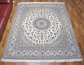 ペルシャ絨毯 高級 手織り ウール&シルク リビングサイズ 261×214cm イラン直輸入 ナイン産 ハビビアン 高品質 じゅうたん ラグ (品番:FX-296-6)