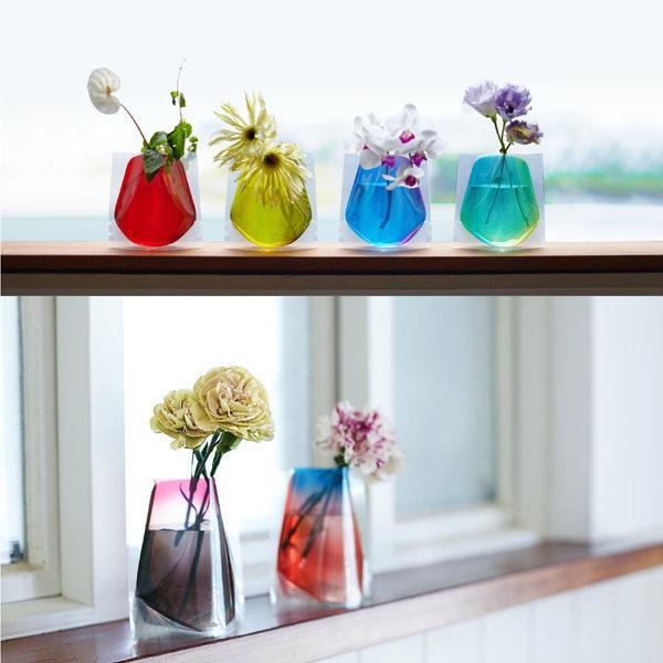 D-BROS【フラワーベースミニ】「ミニサイズ」(2枚入り) 花の色が水に染み出しているかのような美しい グラデーションのデザイン♪花瓶 /5400円以上で送料無料 想いを繋ぐ百貨店【TSUNAGU】