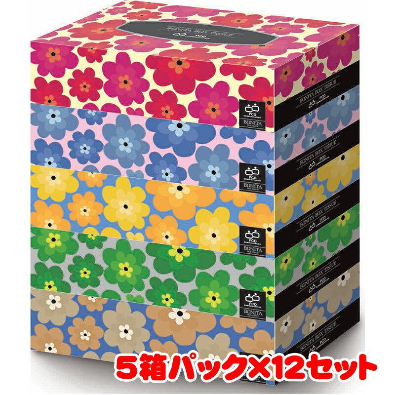 【送料無料】エイトワン ボニータ BOXティシュ 5P 300枚(150組) 5箱パック×12セット 計60箱