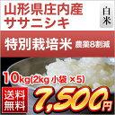 山形県庄内産 ササニシキ 10kg(2kg×5袋)【特別栽培米】【送料無料】【28年度産】【白米】