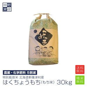 【令和元年度産】もち米 30kg 特別栽培米/北海道産 はくちょうもち新篠津村【生産者 井伊 秀一さん】(節減対象農薬5割減・化学肥料 5割減)もち米 30kgもち米 送料無料【沖縄の場合送料+1900