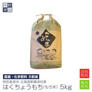 【令和元年度産】もち米 5kg 特別栽培米/北海道産 はくちょうもち新篠津村【生産者 井伊 秀一さん】(節減対象農薬5割減・化学肥料 5割減)もち米 5kgもち米 送料無料【沖縄の場合送料+900円