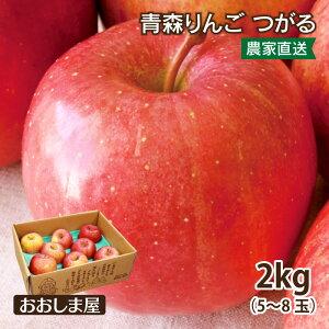 青森 りんご つがる 2kg <9月上旬より順次出荷> フルーツ 果物 葉取らず栽培 農家直送 送料無料 内祝い お供え お祝い 大嶌屋(おおしまや)