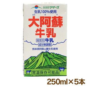 牛乳 大阿蘇牛乳 250ml×5本 ロングライフ牛乳 常温保存 らくのうマザーズ 熊本県酪農 おおしま屋発送<常温便・冷蔵便と同梱可能> 大嶌屋(おおしまや)