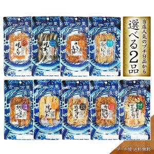 【 送料無料 メール便 】選べる2点 お試しプチパック 食品 高級 おつまみ 珍味 食べ物 日本酒 焼酎 ビール 酒の肴 あご いわし スルメ さきいか 貝ひも エビ えいひれ おつまみセット