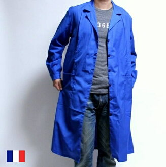French military work long shirt jacket D blue / military dead stock forces coat outer