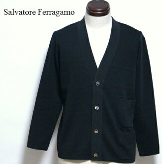 Long sleeves knit tops / Salvatore Ferragamo / # made in Ferragamo / F button cardigan Italy