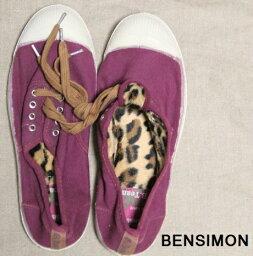 瑕疵本西蒙/帆布×動物毛皮運動鞋/23.0男子的女士/滯銷商品/BENSIMON/Tennis lacets/鞋鞋