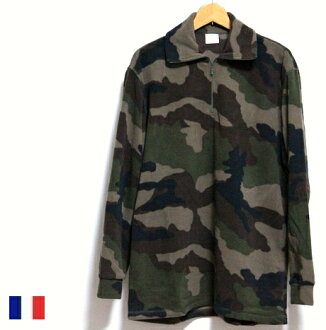 French military software fleece camouflage zip tops / long sleeves camouflage pattern forces military army / dead stock