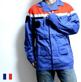 【SALE \3200→\2200】 フランス Balsan ワーク ジャケット Dブルー × オレンジ / F2 ブルゾン コート アウター / ヨーロッパ デッドストック