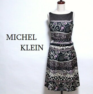 MK Michel Klein / beauty product print satin belt dress no sleeve boat neck / MICHEL KLEIN / #
