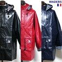 【SALE\6950→5300】 フランス WADERS 防風撥水 ロング ジャケット RD NY BK / ブルゾン コート アウター フード パーカー / デッドストック