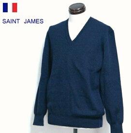 セントジェームス / Vネック ニット トップス ロゴヘム フランス製/ デッドストック SAINT JAMES