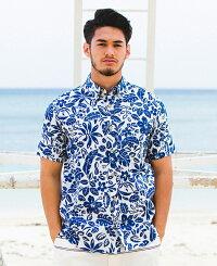アロハボタンダウンシャツメンズ(男性用)「BotanicalEarth」全3色半袖沖縄結婚式にアロハシャツ