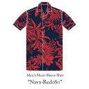 【20th ANNIVERSARY Junglist】 メンズ半袖アロハシャツ/Men's Short-Sleeve Shirt [ネイビーレッド080/Navy-Red080…