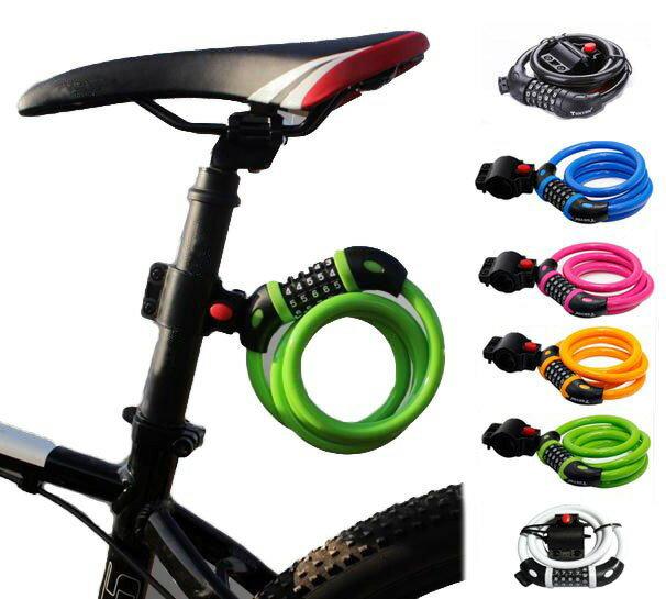 日本語説明書付 自転車用 ワイヤーロック ケーブルロック ダイヤル式 5桁 ダイヤル番号 自由設定 鍵 カギ 不要 全5色 シートポスト 取付