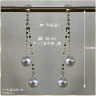akoya sea pearl earrings 7.5-8.5mm K18YG&K14WG