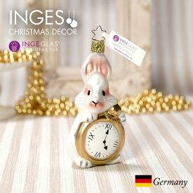 [11月1日予約発送]オーナメント ドイツINGE-GLAS MANUFAKTUR(インゲ・グラス)[N291][不思議の国のアリス Alice in Wonderland]白うさぎ 11.5cm ハンドメイドオーナメント Made in Germany 職人の手作り ヨーロッパ直輸入 クリスマス[送料無料]