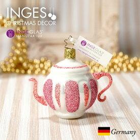 [11月1日予約発送]オーナメント ドイツINGE-GLAS MANUFAKTUR(インゲ・グラス)[N280][不思議の国のアリス Alice in Wonderland]クレイジーティーポット 7cm ハンドメイドオーナメント Made in Germany 職人の手作り ヨーロッパ直輸入 クリスマス[送料無料]