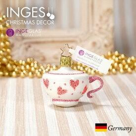 [11月1日予約発送]オーナメント ドイツINGE-GLAS MANUFAKTUR(インゲ・グラス)[N281][不思議の国のアリス Alice in Wonderland]クレイジーティーカップ 5cm ハンドメイドオーナメント Made in Germany 職人の手作り ヨーロッパ直輸入 クリスマス[送料無料]