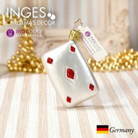 [11月1日予約発送]オーナメント ドイツINGE-GLAS MANUFAKTUR(インゲ・グラス)[N285][不思議の国のアリス Alice in Wonderland]トランプ ダイヤ 7cm ハンドメイドオーナメント Made in Germany 職人の手作り ヨーロッパ直輸入 クリスマス[送料無料]