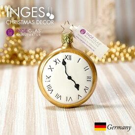 [11月1日予約発送]オーナメント ドイツINGE-GLAS MANUFAKTUR(インゲ・グラス)[N289][不思議の国のアリス Alice in Wonderland]時計 7.5cm ハンドメイドオーナメント Made in Germany 職人の手作り ヨーロッパ直輸入 クリスマス[送料無料]