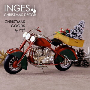 INGE-GLAS[バイク][J]赤 レッド クリスマス オールドバイク アンティーク加工 withツリー、プレゼントボックス Christmas motorbike, red, 26.5 cm ヴィンテージ 男性向けクリスマスプレゼント 彼氏へ 夫へ