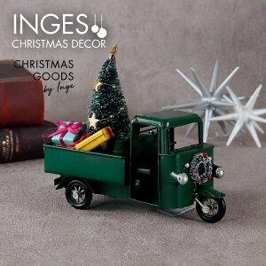 INGE-GLAS[三輪自動車][O]グリーン クリスマス オールド三輪自動車 アンティーク加工 withクリスマスツリー、リース、プレゼントボックス Christmas rickshaw, green, 16.5 cm ヴィンテージカー 男性向け