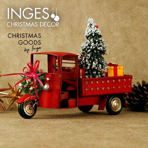 INGE-GLAS[三輪自動車][P]赤 レッド クリスマス オールド三輪自動車 アンティーク加工 withクリスマスツリー、リース、プレゼントボックス Christmas rickshaw, red, 26 cm ヴィンテージカー 男性向けク