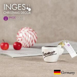 オーナメント ドイツINGE-GLAS MANUFAKTUR(インゲ・グラス)のKostlichkeiten[66G] デリシャスライン Espresso Tasse [エスプレッソ]  ハンドメイドオーナメント ヨーロッパ 直輸入 クリスマス[送料無料]