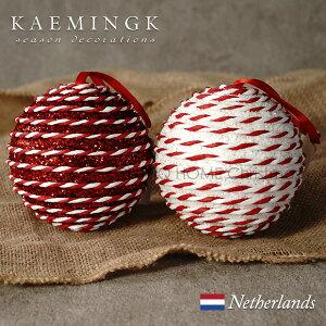 KAEMINGK バブルボール(大)デコレーション オーナメント バブルボール 宝石 グリッター キラキラ ペーパークラフト サテンリボン 直径10cm レッド 赤 ホワイト 白 アソート ミックス オーナメン