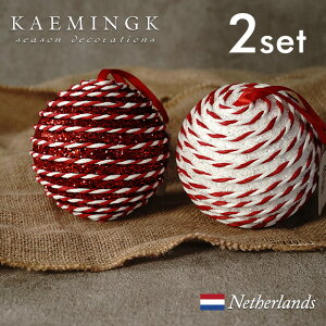 KAEMINGK バブルボール(小)デコレーション オーナメント バブルボール 宝石 グリッター キラキラ ペーパークラフト サテンリボン 直径6cm レッド 赤 ホワイト 白 アソート ミックス 2個入り【4577