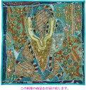【インド直輸入】古布パッチワーク タペストリー 正方形 60cmx60cm ターコイス ブルー 水色系 ラジャスタン ジャイプル PTA-0121
