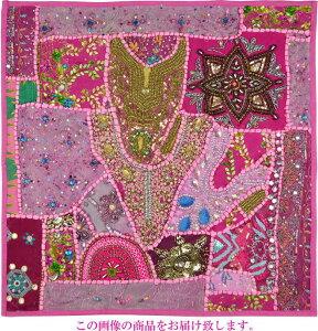 【インド直輸入】古布パッチワーク タペストリー 正方形 60cmx60cm ピンクB ピンク色系 ラジャスタン ジャイプル PTA-0151