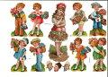 ドイツ製クロモス☆可愛い子供とローズブーケ薔薇花柄☆(Kinder)デコパージュコラージュスクラップピクチャーダイカットエンボスアンティーク