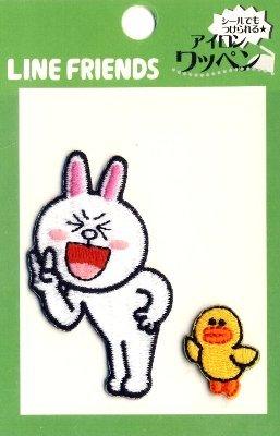 キャラクター 刺しゅうワッペン・LINE FRIENDS(ラインフレンズ)(コニー・Vサイン)( キャラクターワッペン アップリケ アイロン 刺繍 かわいい おしゃれ マーク キッズ 子供 こども 男の子 女の子 入園 入学 )
