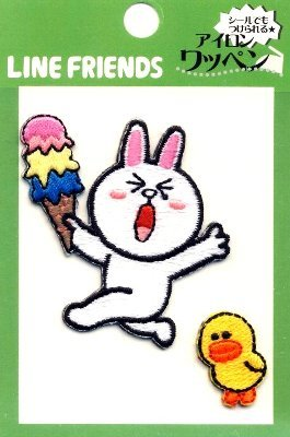 キャラクター 刺しゅうワッペン・LINE FRIENDS(ラインフレンズ)(コニー・アイス)( キャラクターワッペン アップリケ アイロン 刺繍 かわいい おしゃれ マーク キッズ 子供 こども 男の子 女の子 入園 入学 )