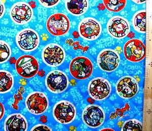 妖怪ウォッチ ( ブルー ) 柄番号5 ( 材料セット レシピ付き キルティング ) レッスンバック ( またはピアニカケース ) とシューズケース用手作りキット ( キャラクター 生地 材料キット )