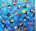<Qキャラクター・キルティング生地>ワンピース(ブルー)#31【キルティング】【キルト】【キャラクター】【キルティング生地】【布】