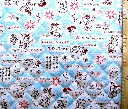 <Qキャラクター・キルティング生地>アナと雪の女王(オラフ柄)(ブルー)#6【キルティング】【キルト】【ディズニー】【キルティング生地】【布】【入園】【入学】