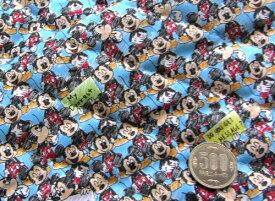 Q- キルト - キャラクター キルティング 生地 お手軽セット はぎれ 40cm ミッキーマウス(ブルー)#50・ディズニー