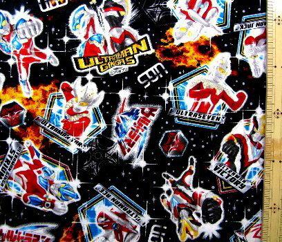 <キャラクター生地・布>ウルトラマンギンガ#2(黒)【キャラクター】【生地】【布】【キャラクター生地】