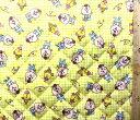 <Qキャラクター・キルティング生地>クマタン#1(イエロー)【キルティング】【キルト】【キャラクター】【キルティング生地】【布】