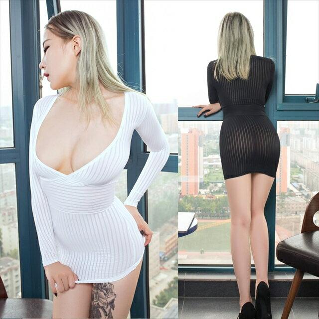 【ネコポスは送料無料】ボディコン ミニドレス OL 女教師 コスプレ衣装 極薄 セクシー ドレス ストライプ 全2色 A304