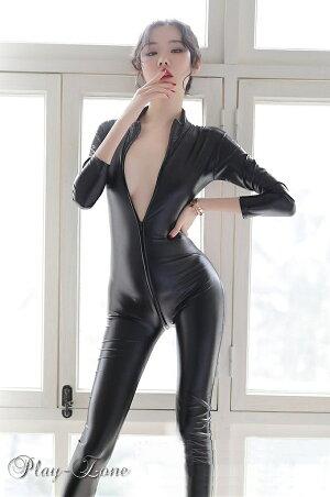 【ネコポスは送料無料】 キャットスーツ コスプレ セクシー レザー ラバースーツ 仮装 衣装 ボディスーツ セクシー コスチューム ボディライン ボディコン ジャンプスーツ エナメル ブラック 黒 C110
