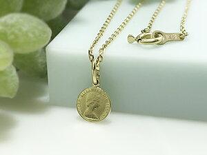 K18/18金無垢/ペンダントトップ/18金/コイン/メダル ネックレス/シンプル/エリザベス女王