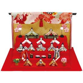 【送料無料】雛人形なごみ豆雛 15人揃い 几帳付手作りちりめん細工 マンションサイズ コンパクト 桃の節供