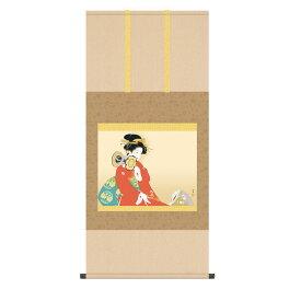 送料無料 掛け軸 日本の巨匠 名画複製画 上村松園 鼓の音(つづみのね) 高精彩功芸画 手彩入り